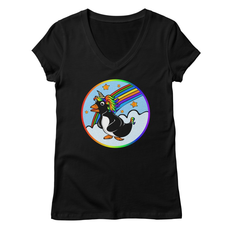 Pengicorn Women's Regular V-Neck by elledeegee's Artist Shop