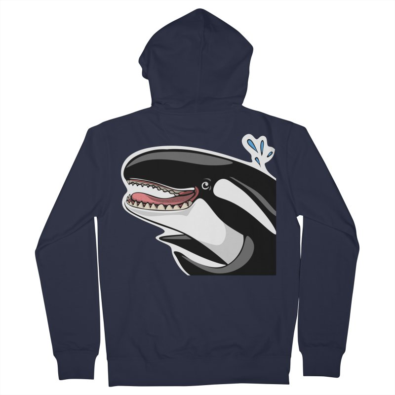 Happy Killer Whale Men's French Terry Zip-Up Hoody by elledeegee's Artist Shop