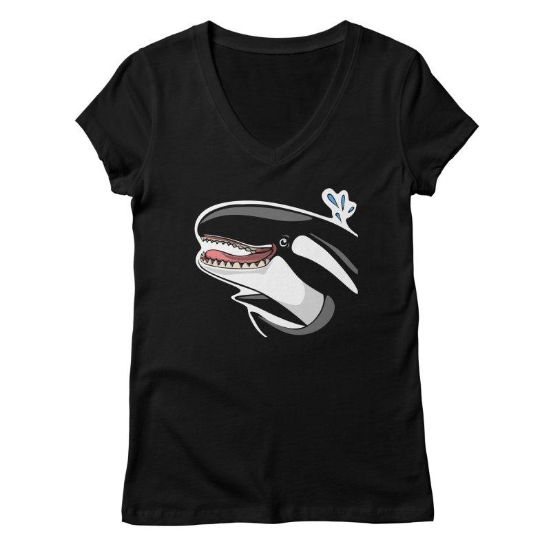 Happy Killer Whale Women's V-Neck by elledeegee's Artist Shop