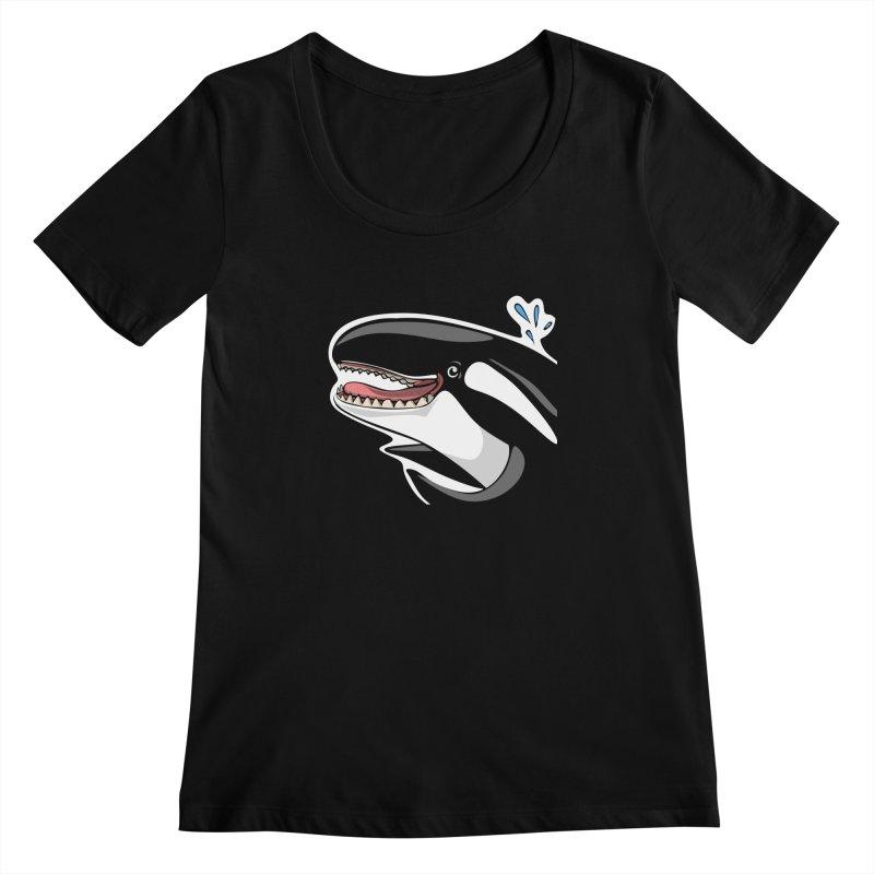 Happy Killer Whale Women's Regular Scoop Neck by elledeegee's Artist Shop