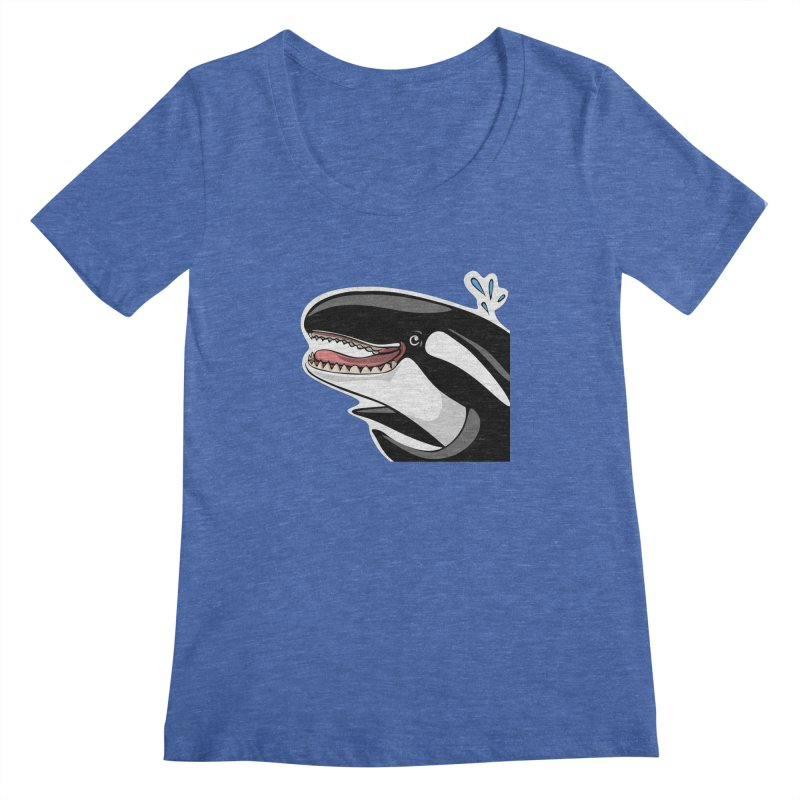 Happy Killer Whale Women's Scoopneck by elledeegee's Artist Shop