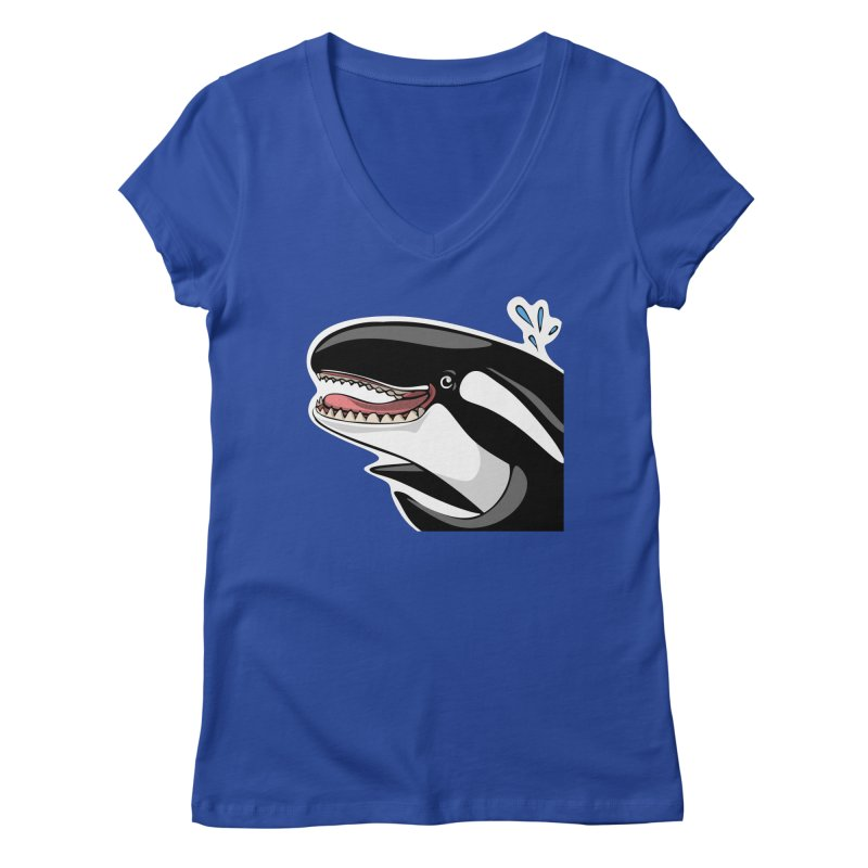 Happy Killer Whale Women's Regular V-Neck by elledeegee's Artist Shop