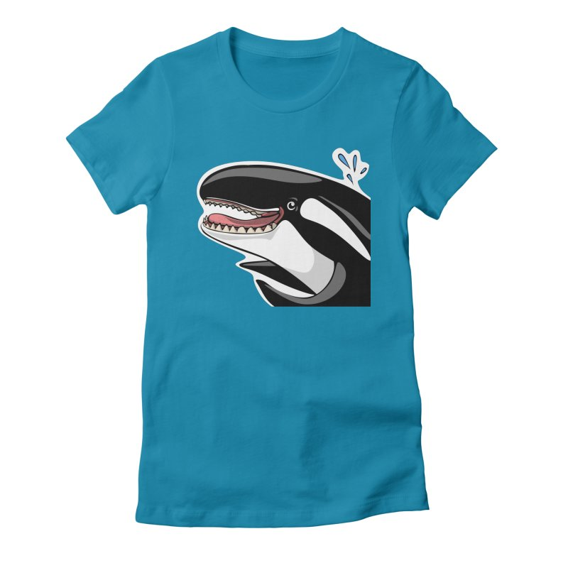 Happy Killer Whale Women's Fitted T-Shirt by elledeegee's Artist Shop