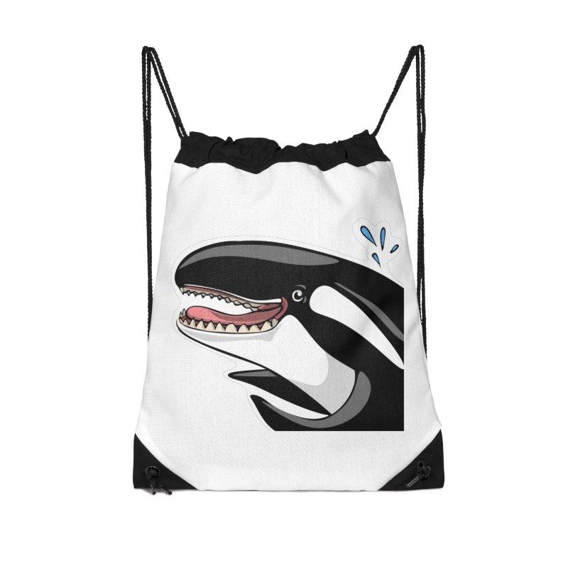 Happy Killer Whale Accessories Drawstring Bag Bag by elledeegee's Artist Shop