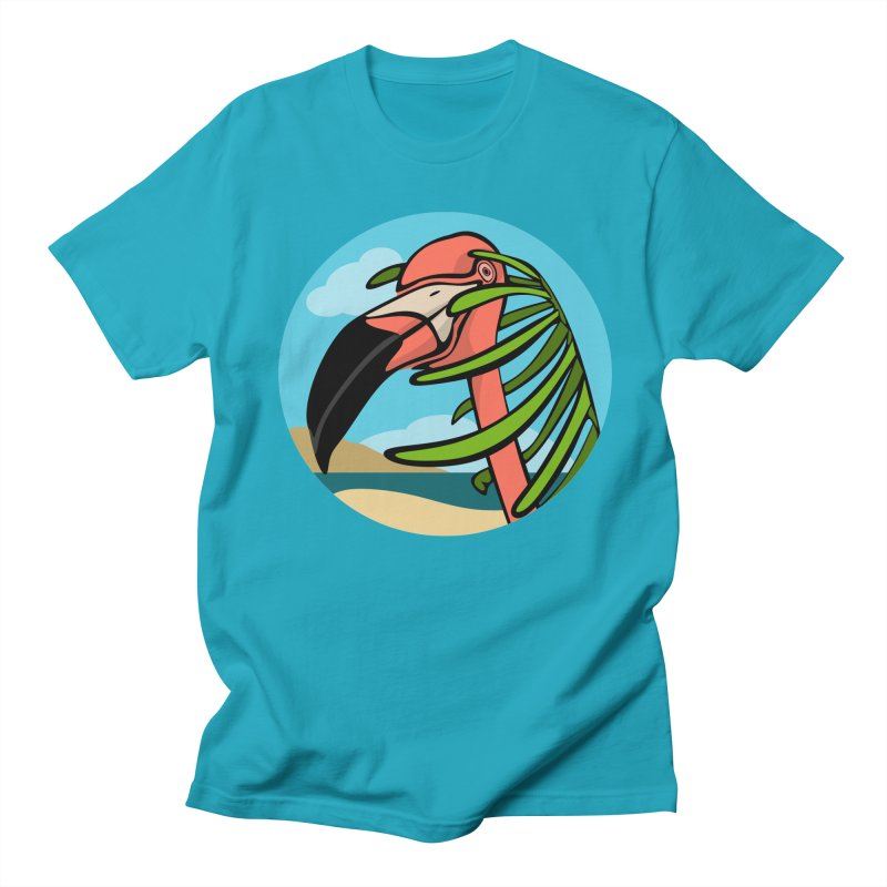 Flamingo Palm in Men's T-Shirt Cyan by elledeegee's Artist Shop