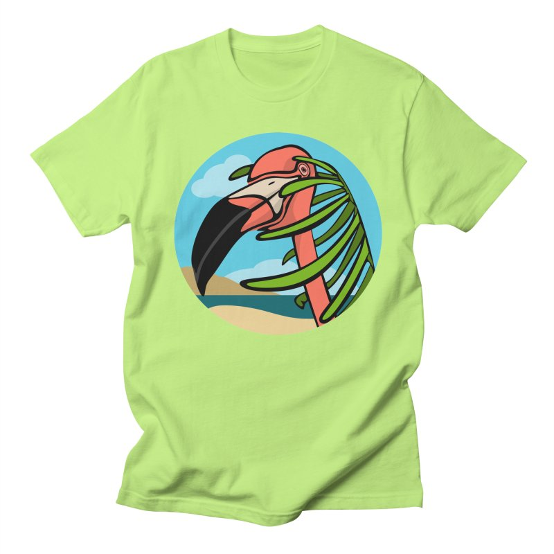 Flamingo Palm Men's Regular T-Shirt by elledeegee's Artist Shop