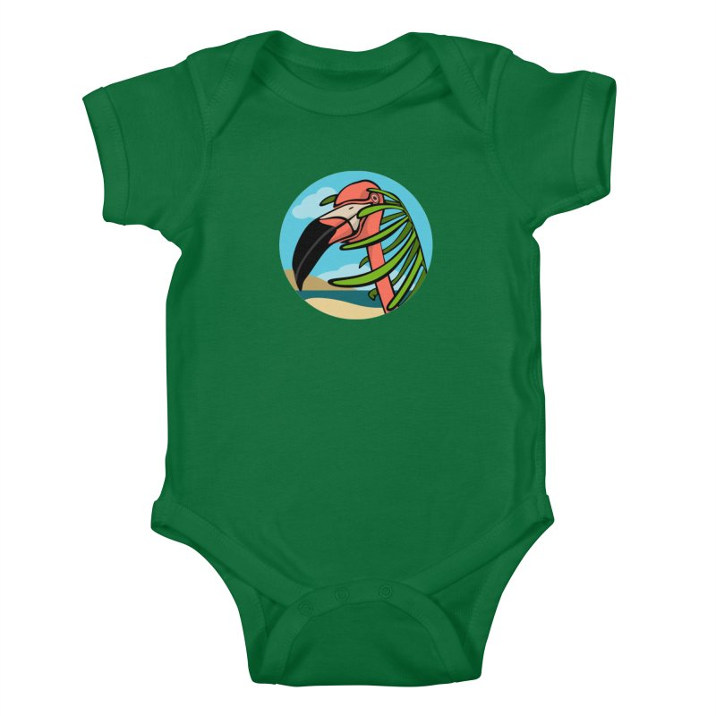 Flamingo Palm Kids Baby Bodysuit by elledeegee's Artist Shop