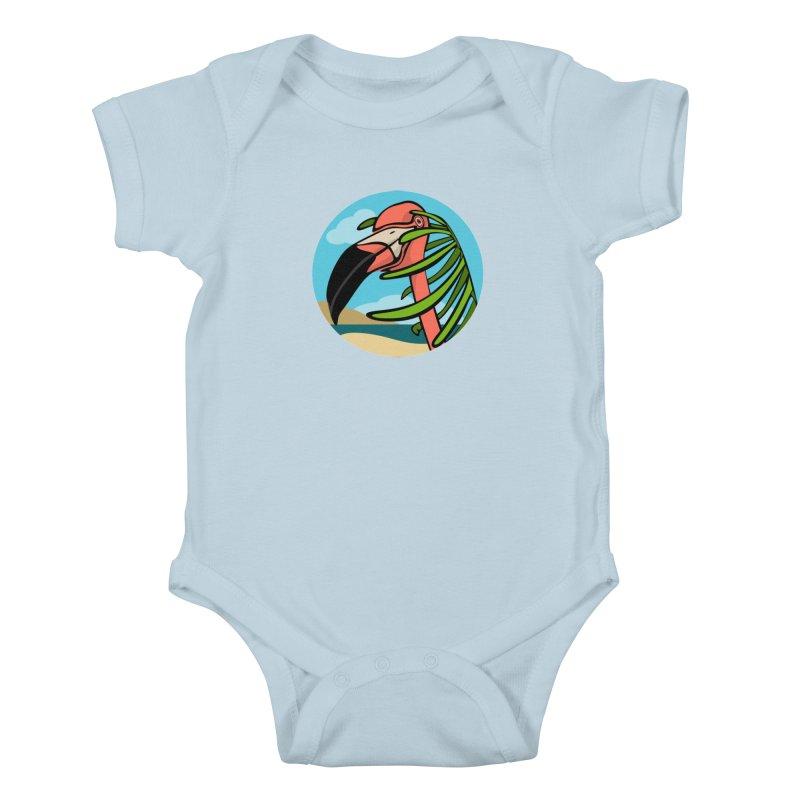 Flamingo Palm Kids Baby Bodysuit by elledeegee's Artist Shop