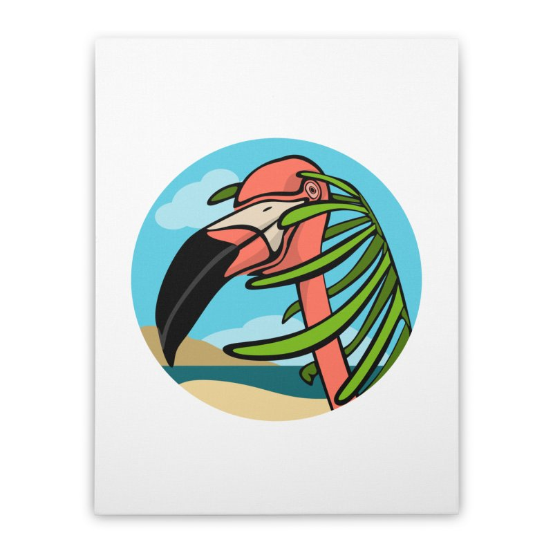 Flamingo Palm Home Stretched Canvas by elledeegee's Artist Shop