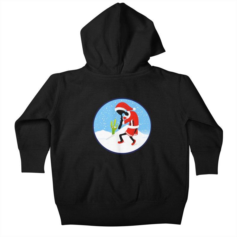 Kokopelli Santa Kids Baby Zip-Up Hoody by elledeegee's Artist Shop