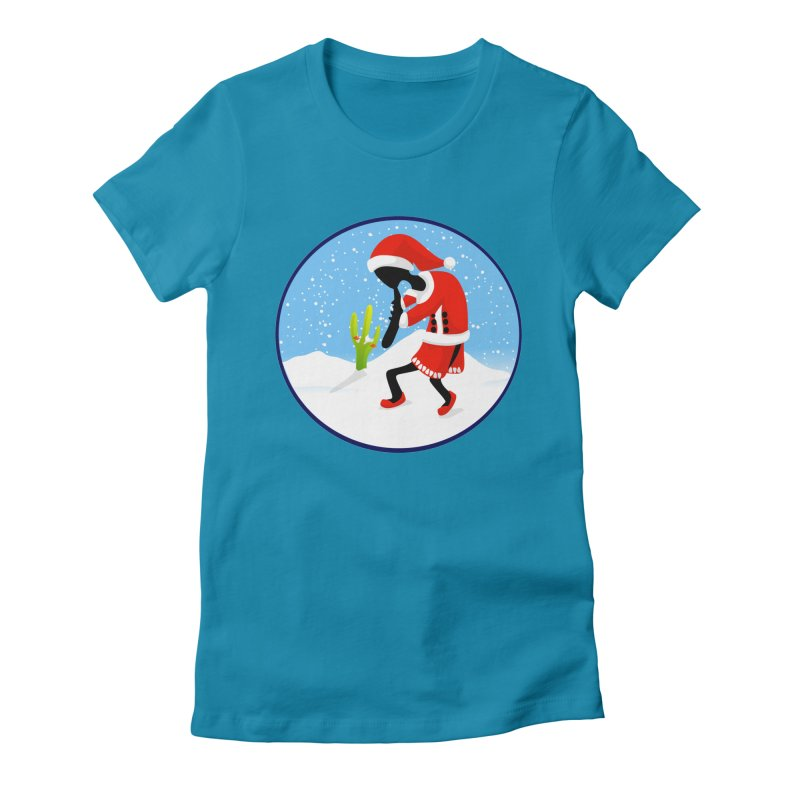 Kokopelli Santa Women's Fitted T-Shirt by elledeegee's Artist Shop