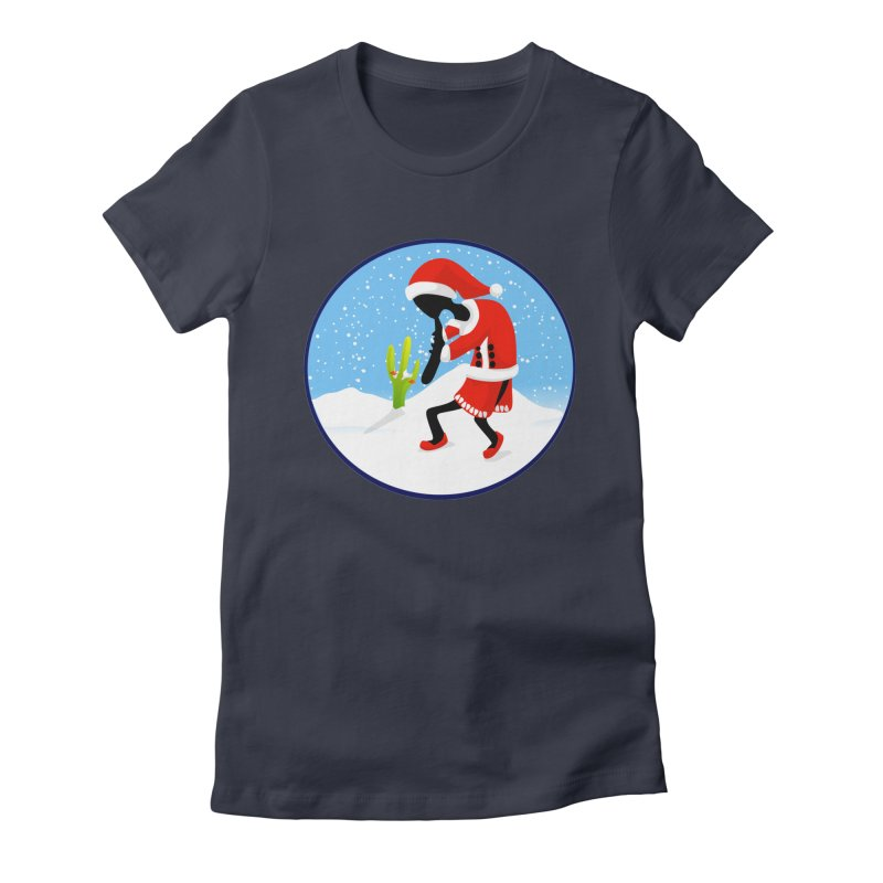 Kokopelli Santa Women's Fitted T-Shirt by elledeegee's Artist Shop