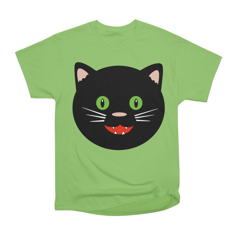 Happy Black Cat Women's Heavyweight Unisex T-Shirt by elledeegee's Artist Shop