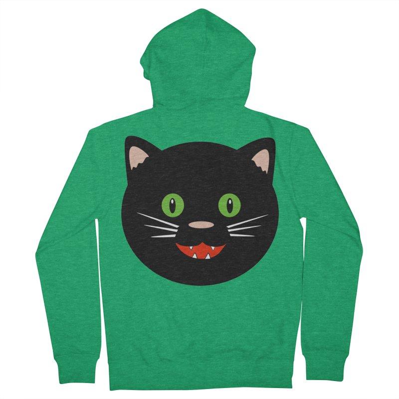 Happy Black Cat Women's French Terry Zip-Up Hoody by elledeegee's Artist Shop