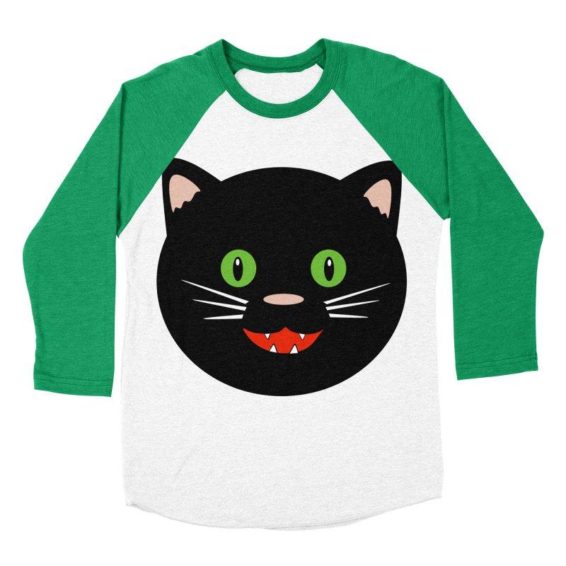 Happy Black Cat Women's Baseball Triblend Longsleeve T-Shirt by elledeegee's Artist Shop