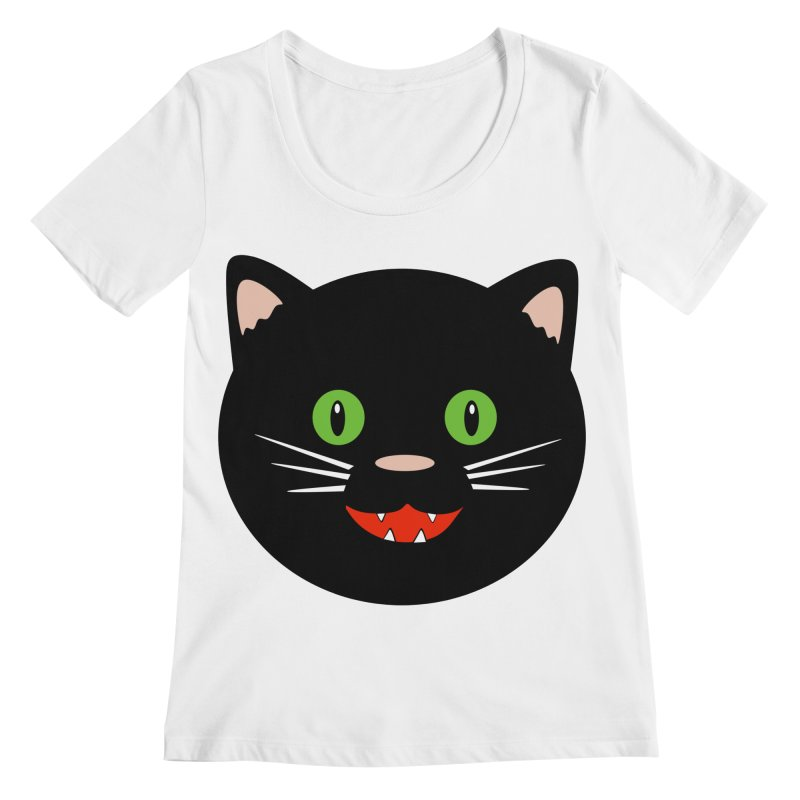 Happy Black Cat Women's Regular Scoop Neck by elledeegee's Artist Shop