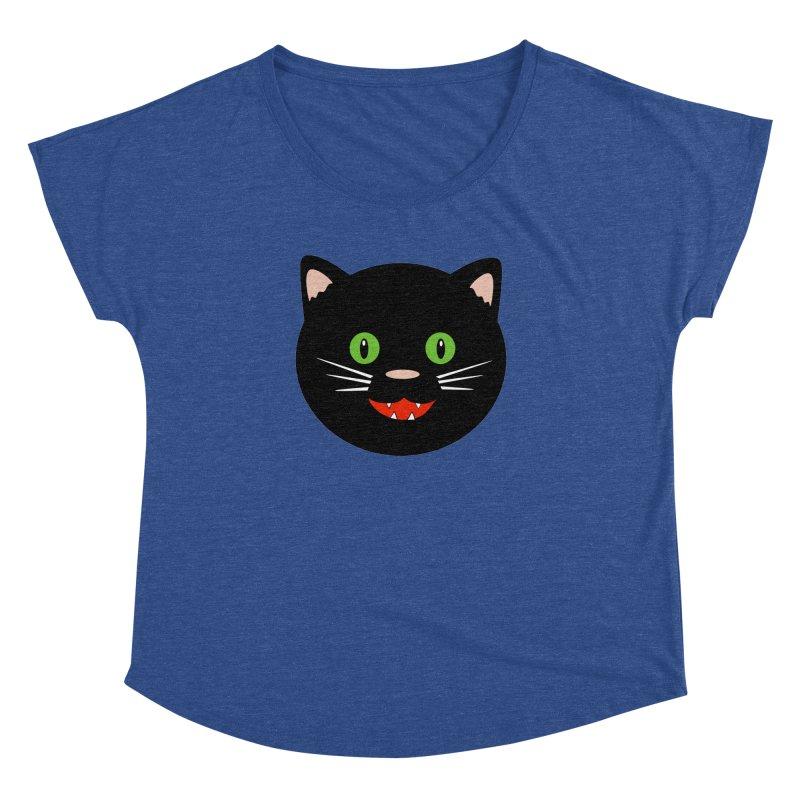Happy Black Cat Women's Dolman Scoop Neck by elledeegee's Artist Shop