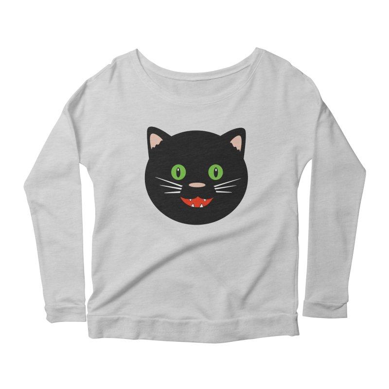 Happy Black Cat Women's Scoop Neck Longsleeve T-Shirt by elledeegee's Artist Shop