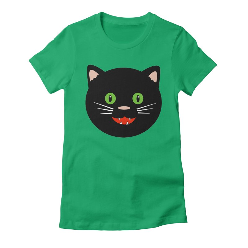 Happy Black Cat Women's Fitted T-Shirt by elledeegee's Artist Shop