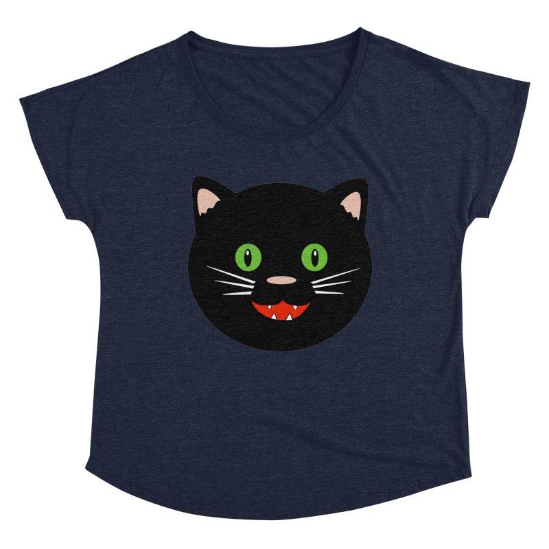 Happy Black Cat Women's Scoop Neck by elledeegee's Artist Shop