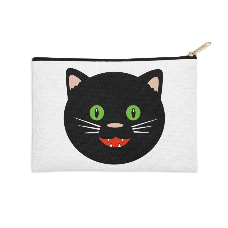 Happy Black Cat Accessories Zip Pouch by elledeegee's Artist Shop