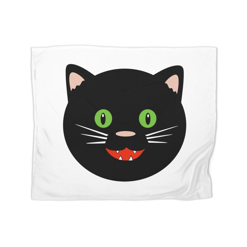 Happy Black Cat Home Fleece Blanket Blanket by elledeegee's Artist Shop