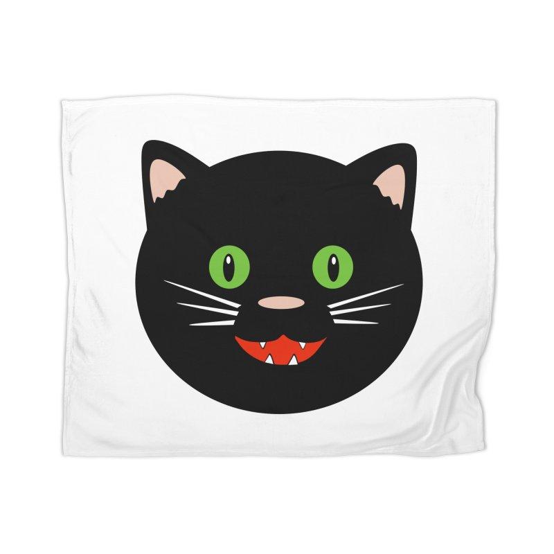 Happy Black Cat Home Blanket by elledeegee's Artist Shop
