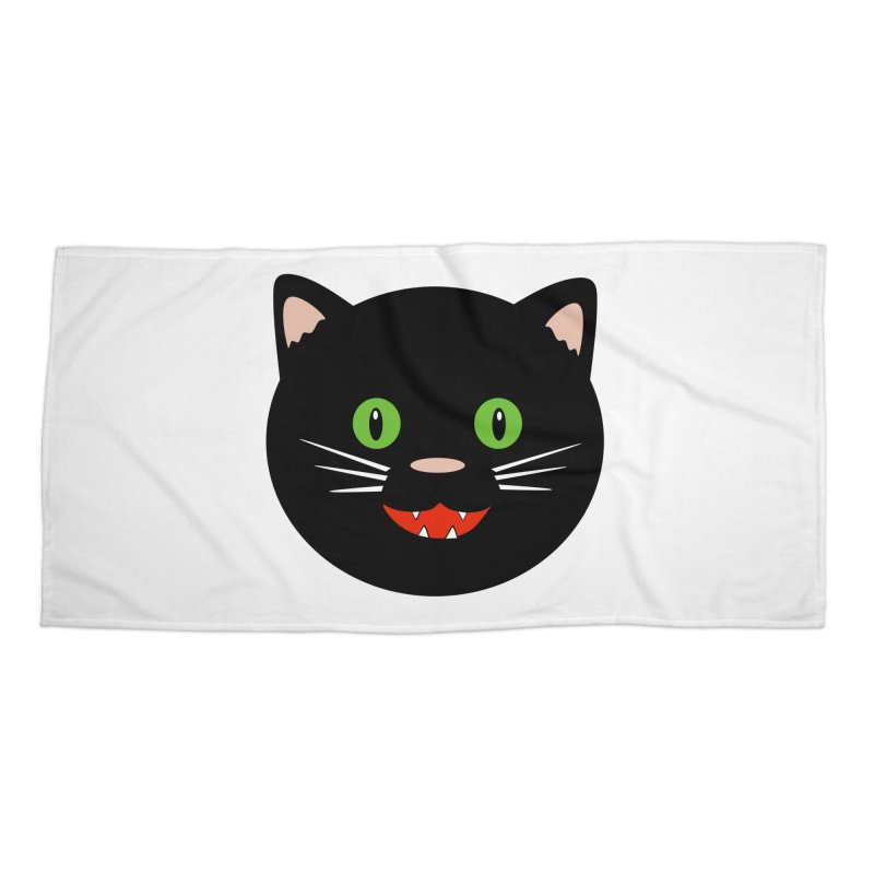 Happy Black Cat Accessories Beach Towel by elledeegee's Artist Shop