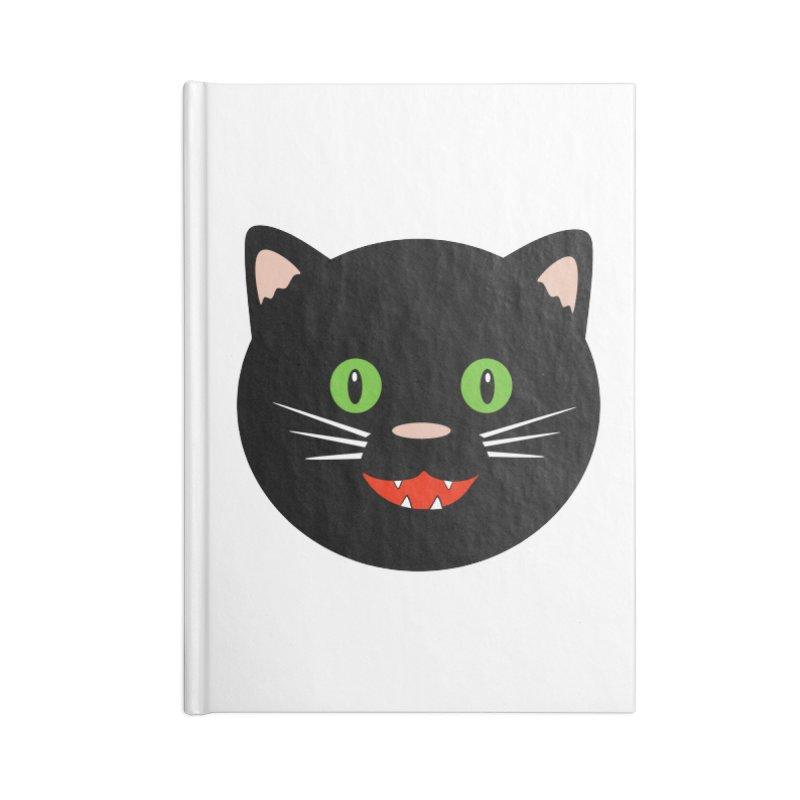 Happy Black Cat Accessories Lined Journal Notebook by elledeegee's Artist Shop