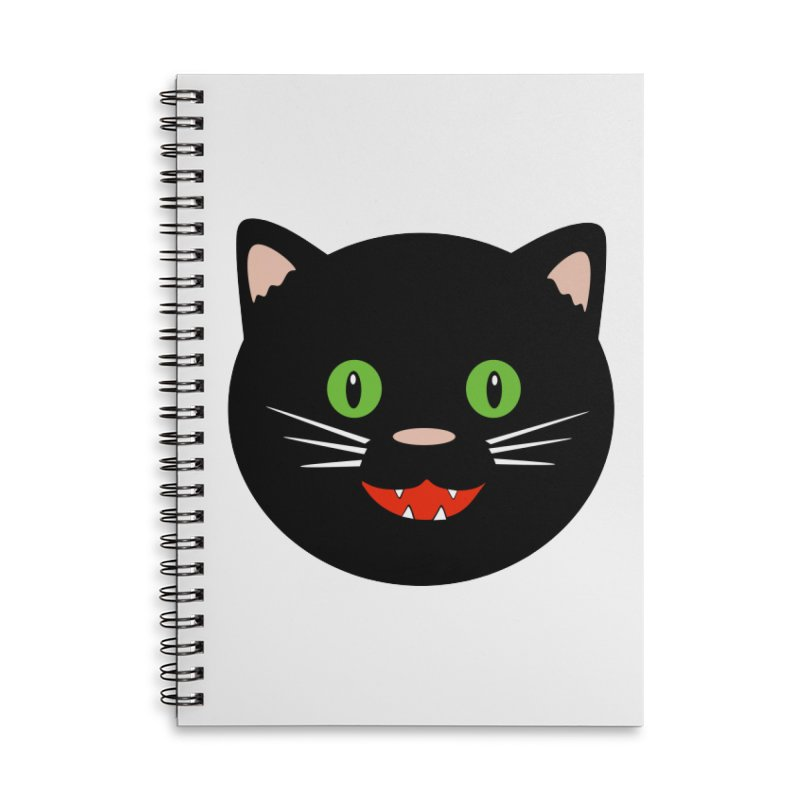 Happy Black Cat Accessories Lined Spiral Notebook by elledeegee's Artist Shop