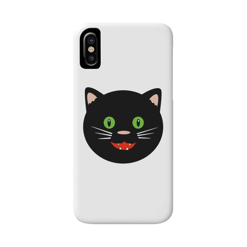 Happy Black Cat Accessories Phone Case by elledeegee's Artist Shop