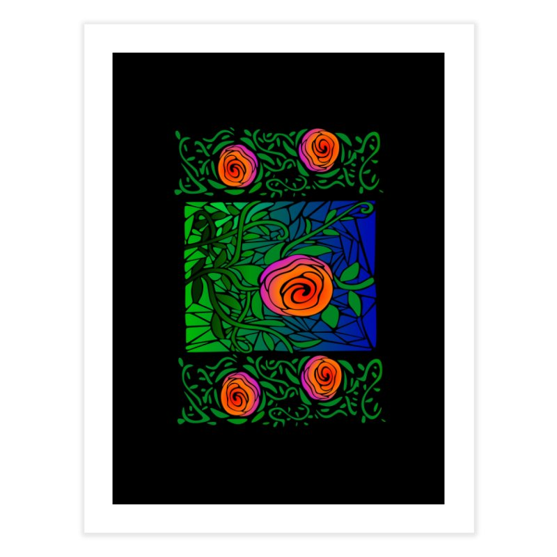 Thorny Roses Stained Glass Home Fine Art Print by elledeegee's Artist Shop
