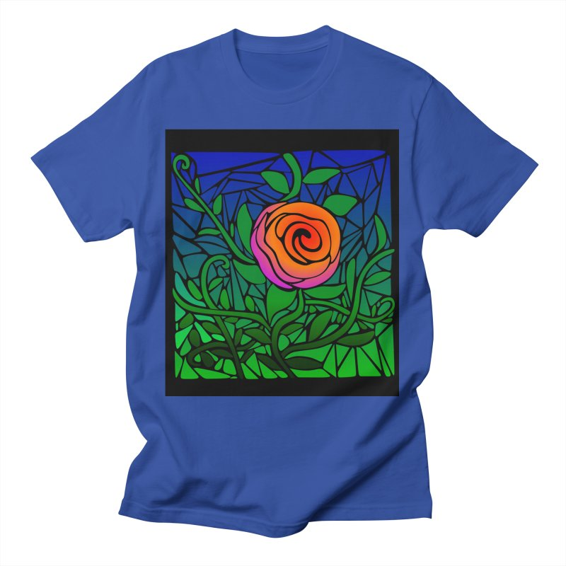 Thorny Roses Stained Glass Men's T-Shirt by elledeegee's Artist Shop
