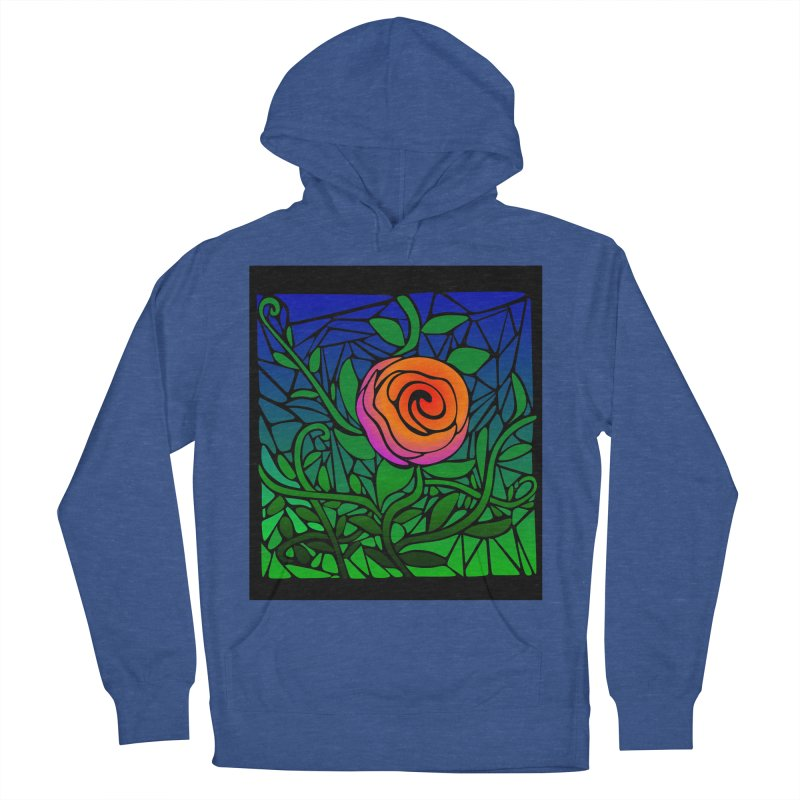 Thorny Roses Stained Glass Men's Pullover Hoody by elledeegee's Artist Shop