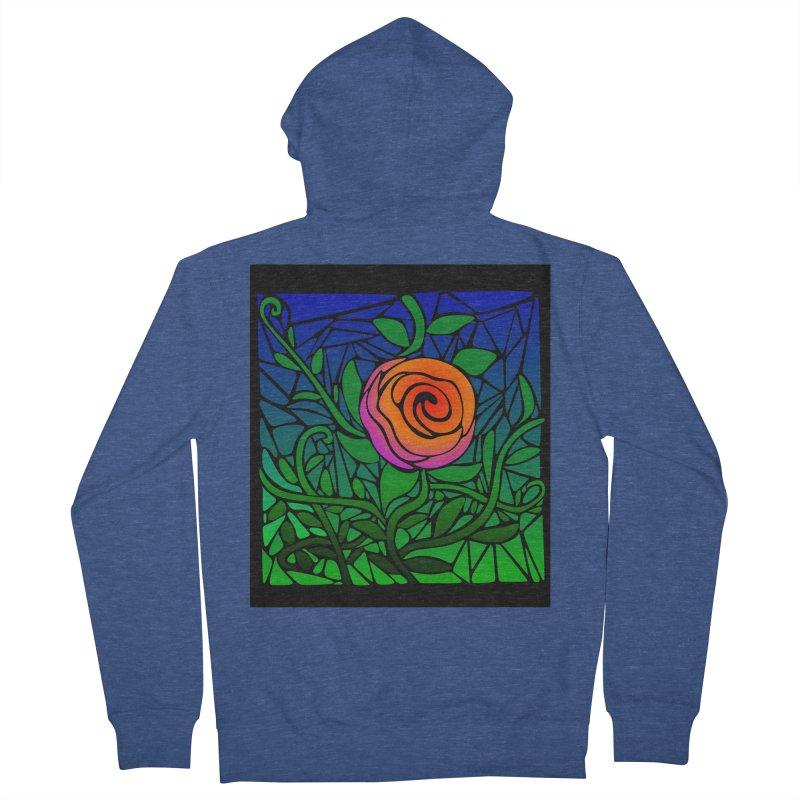 Thorny Roses Stained Glass Men's Zip-Up Hoody by elledeegee's Artist Shop