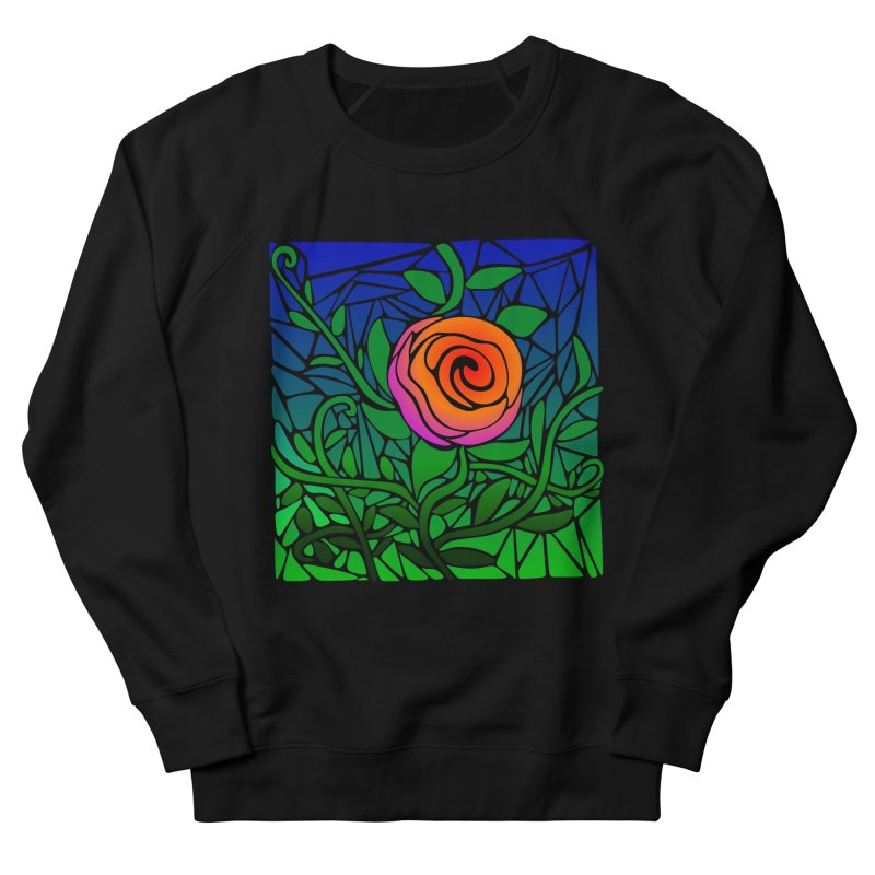 Thorny Roses Stained Glass Women's French Terry Sweatshirt by elledeegee's Artist Shop
