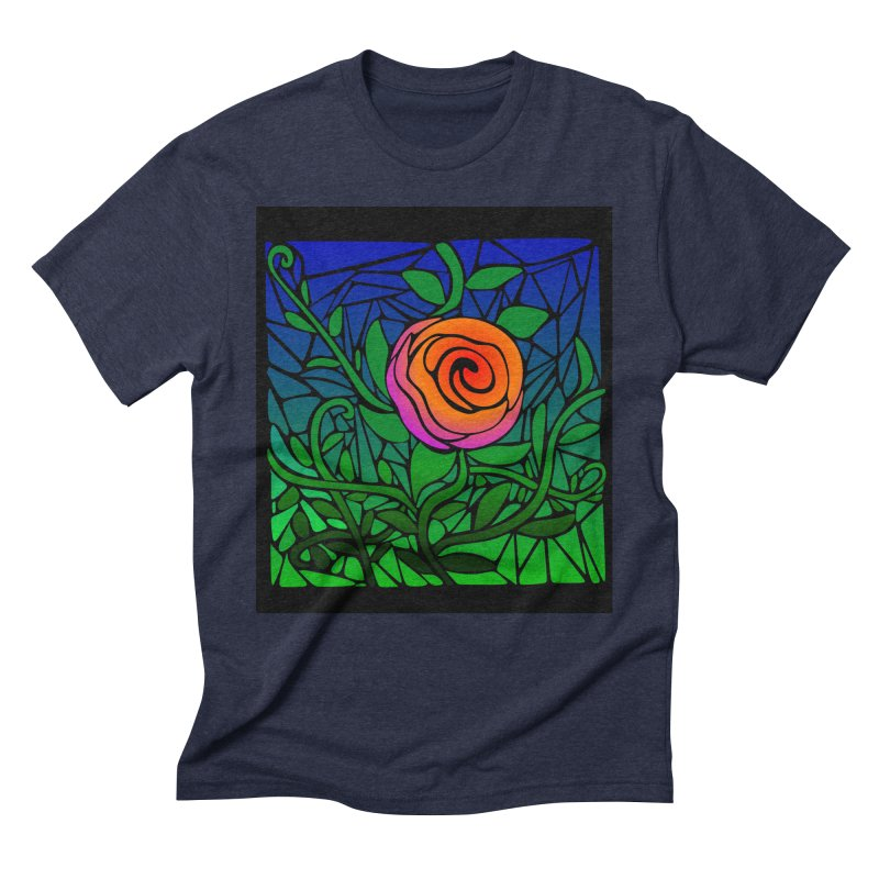 Thorny Roses Stained Glass Men's Triblend T-shirt by elledeegee's Artist Shop