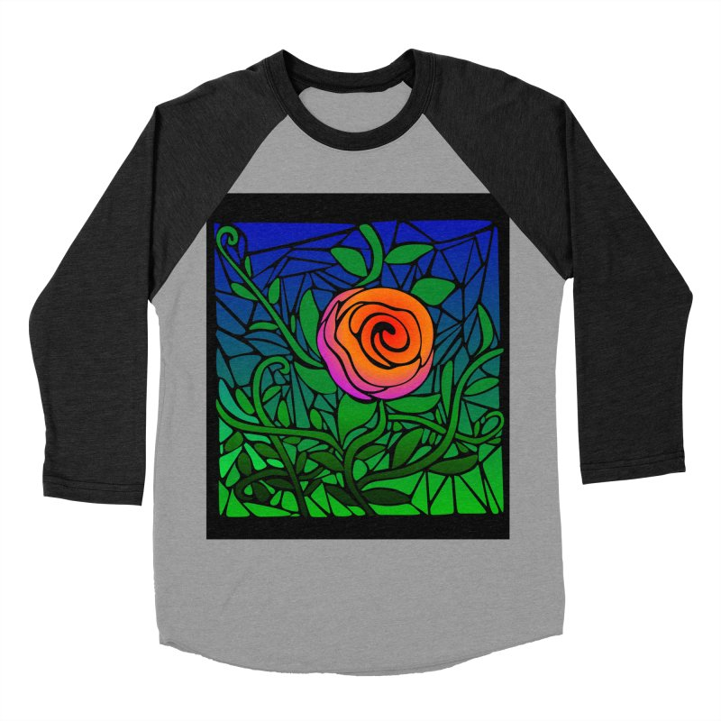 Thorny Roses Stained Glass Women's Baseball Triblend T-Shirt by elledeegee's Artist Shop