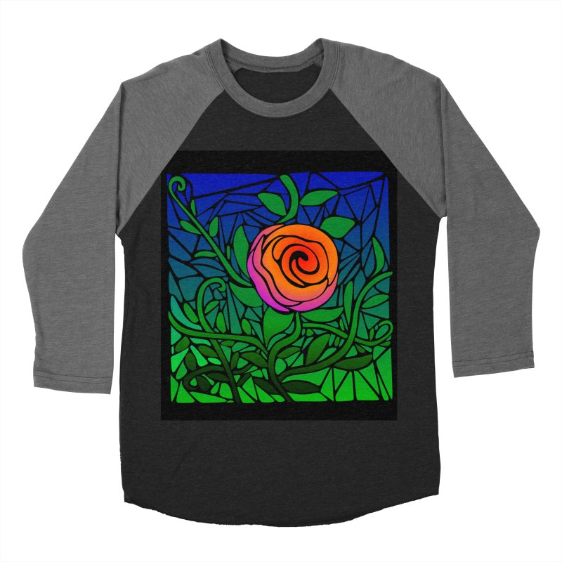 Thorny Roses Stained Glass Men's Baseball Triblend Longsleeve T-Shirt by elledeegee's Artist Shop