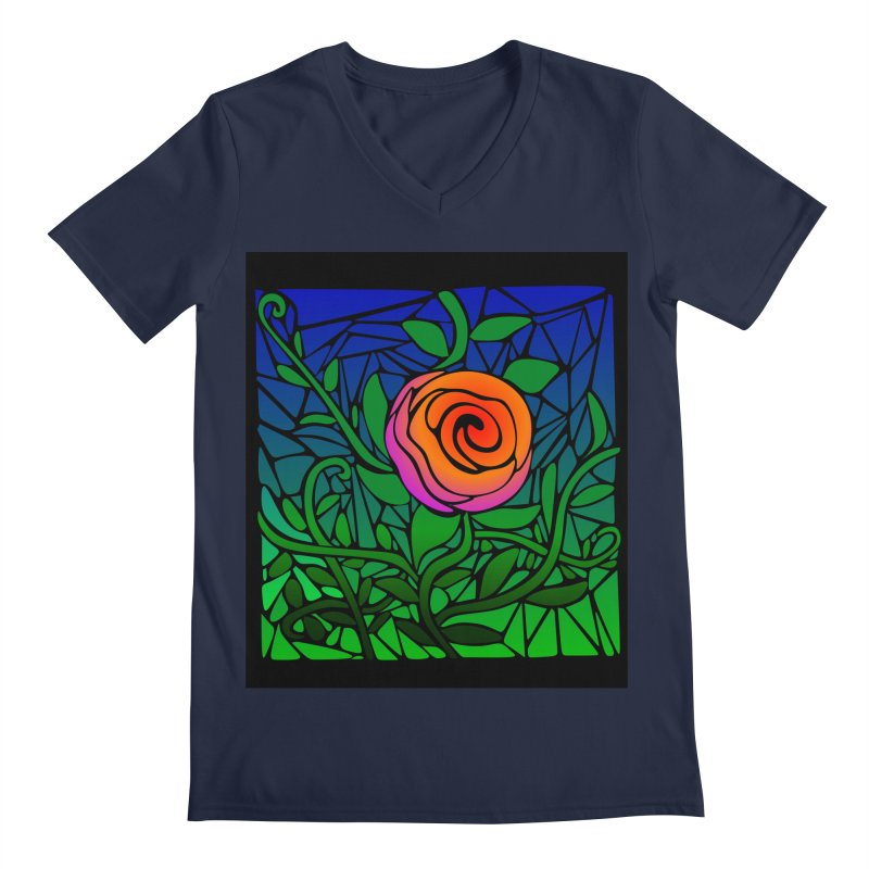 Thorny Roses Stained Glass Men's V-Neck by elledeegee's Artist Shop