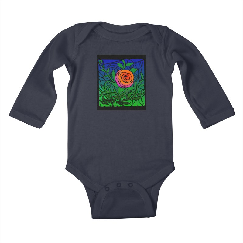 Thorny Roses Stained Glass Kids Baby Longsleeve Bodysuit by elledeegee's Artist Shop