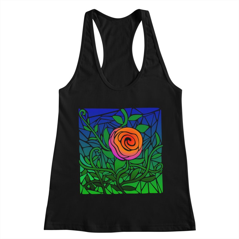 Thorny Roses Stained Glass Women's Racerback Tank by elledeegee's Artist Shop