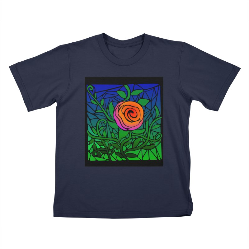 Thorny Roses Stained Glass Kids T-Shirt by elledeegee's Artist Shop