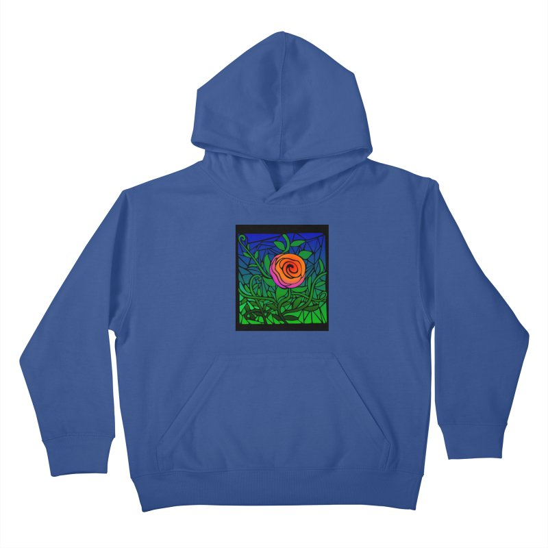 Thorny Roses Stained Glass Kids Pullover Hoody by elledeegee's Artist Shop