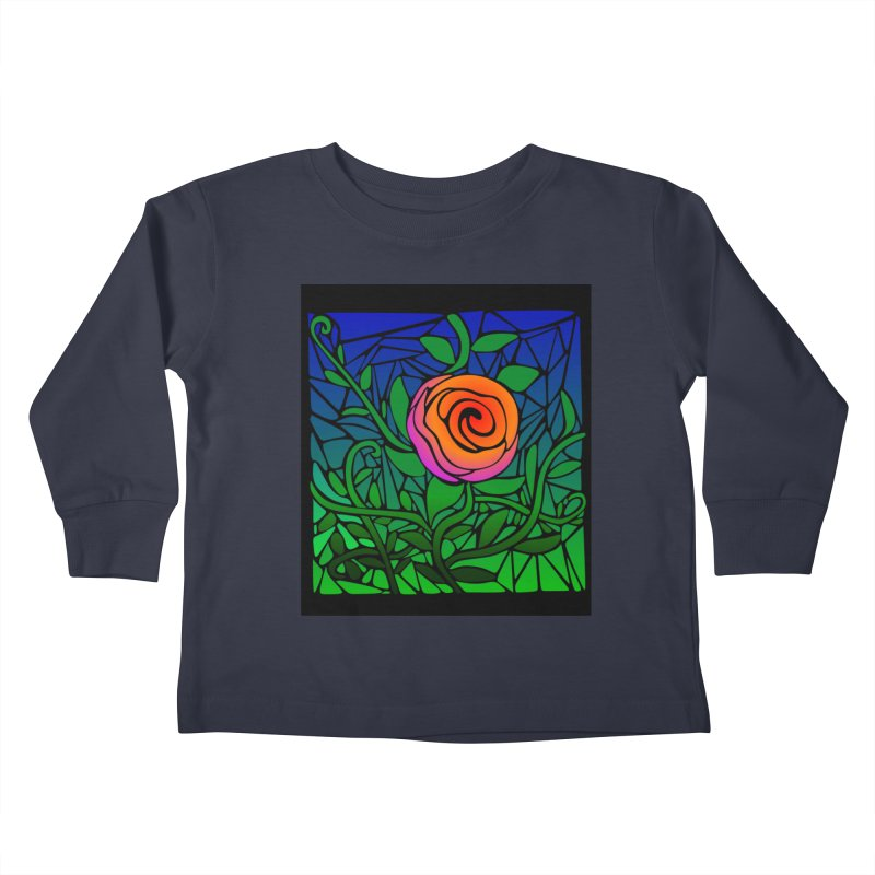 Thorny Roses Stained Glass Kids Toddler Longsleeve T-Shirt by elledeegee's Artist Shop
