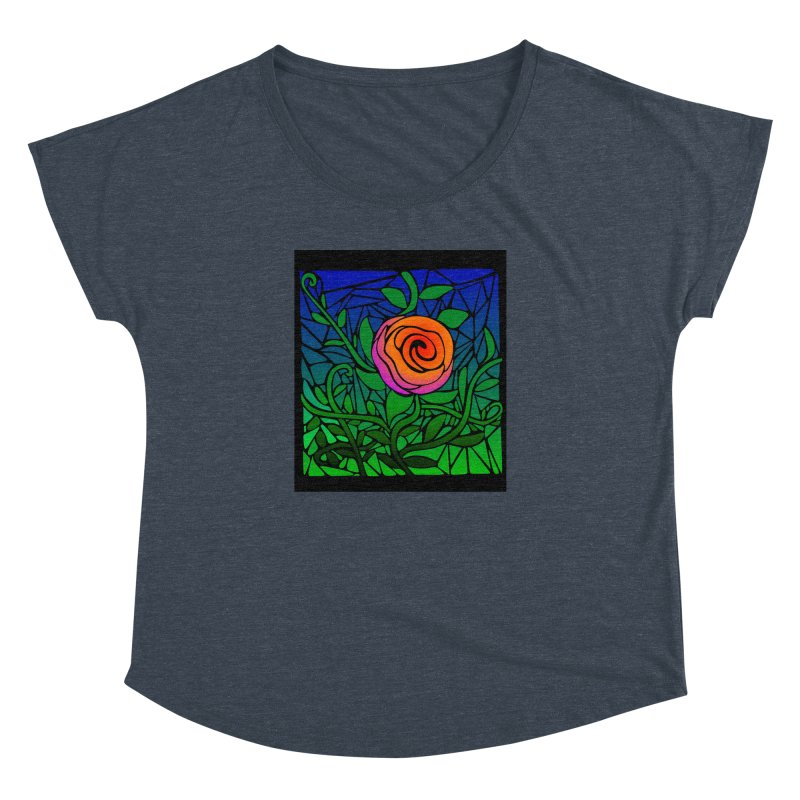 Thorny Roses Stained Glass Women's Dolman Scoop Neck by elledeegee's Artist Shop