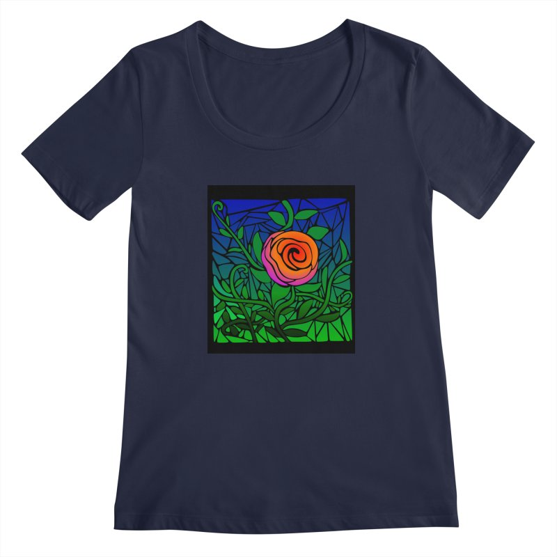 Thorny Roses Stained Glass Women's Regular Scoop Neck by elledeegee's Artist Shop