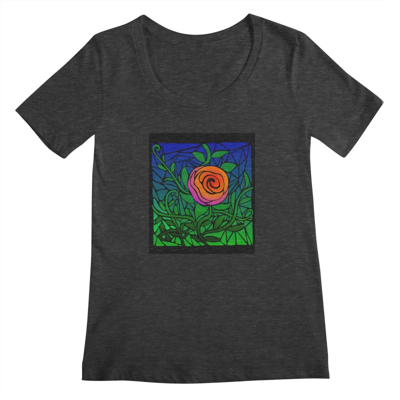 Thorny Roses Stained Glass Women's Scoopneck by elledeegee's Artist Shop