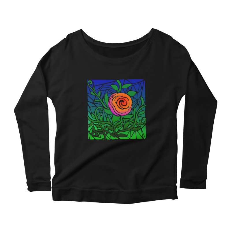 Thorny Roses Stained Glass Women's Scoop Neck Longsleeve T-Shirt by elledeegee's Artist Shop