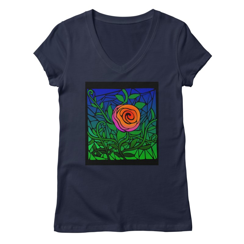 Thorny Roses Stained Glass Women's V-Neck by elledeegee's Artist Shop